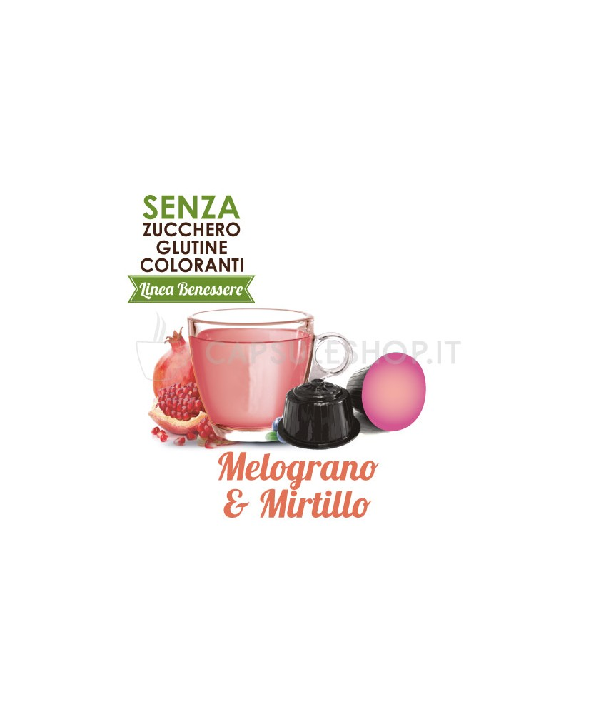 Dolce Gusto compatible capsules. Pomegranate and blueberry herbal tea