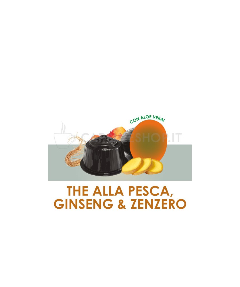 Capsules compatibles Dolce Gusto. thé à la pêche au ginseng et au gingembre